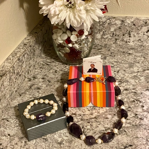 Freshwater Pearl Gemstone Bead Bracelet & Necklace